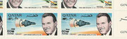 Qatar, Gemini 6 and 7 honoring the US astronauts, full sheet perforate new currency double overprint