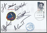 Sojus TMA-11M, launch cover orig.signed by complete crew Tjurin, Mastracchio and Wakata and backup crew orig. signed by Gerst, Wiseman and Surajew