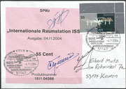 4.11.2004, special cancel of esa of the training center in Cologne/Porz , EAC, orig. signed by Usachow, Treshew and Gidzenko