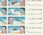 Qatar, Gemini 6 and 7 honoring the US astronauts, full sheet perforate new currency inverted overprint