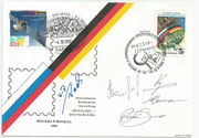Sojus TM 14 cover Russia-Germany orig. signed Viktorenko, Kaleri, Wolkow, Krikalew and Flade with Russia 229 and Germany 1527