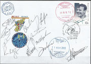 Flown cover Sojus TMA-09M, orig. signed for the 50th anniversary of Tereschkowas flght by four complete crews, Sojus-08M, 09M, 10M and 11M