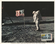 NASA Litho first man on the moon, here is shown Buzz Aldrin, postmark double