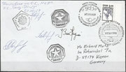Flown cover from the MIR station, 20.2.1999 launch date, orig. signed by Ajanassjew, Haignere and Awdejew, the crew who flew back to earth