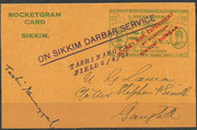 Indian rocket flight No.49 dated 08.04.1935, 388 cards are flown and orig signed by Smith, 2 cards have been orig.signed by His Highness the Maharajah of Sikkim Tashi Namgyal, who fired the rocket mail, due to not posted later on, no postmark