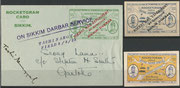 Indian rocket flight No.44 dated 08.04.1935, 416 cards are flown and orig signed by Smith, 3 cards have been orig.signed by His Highness the Maharajah of Sikkim Tashi Namgyal, who fired the rocket mail, due to not posted later on, no postmark, 2 vignettes
