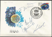 Sojus TM-13 launchcover orig.signed by complete crew and austrian backup astronaut Lothaller
