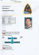 Documentation sheet from the flight Shenzhou 5