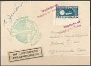 Germany, 04.11.1933 not flown cover with vignette and 3 cancels, it was the first night launch from Stiege to Hasselfeld, flown covers have to have the signature of Zucker, 370 flown covers are existing, this cover is orig.signed by Zucker, but not flown!
