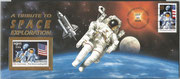 30.9.1994, KSC cover of the US post office frankted with US$ 0,29, content: one flown US$ 9,95 stamp with STS-68 Endeavour due to the 25th anniversary of the first moon landing, 500000 stamps havebbeen in space