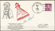 Launch cover Mercury 3 dated 5 of may 1961, from Port Canaveral orig. signed by Alan Shepard, very rare item due to the secret launch of the flight, flight was  a ballsitic flight for 15 minutes