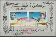 Qatar unissued souvenir Sheet, signed on stay in the ISS by complete crew Sojus TMA-10M, Kotow, Rjazanski and Hopkins and complete crew Sojus TMA-09M, Jurtschichin, Nyberg and Parmitano, this sheet is unique and has been 6 weeks in space on ISS