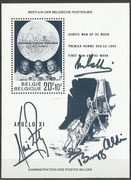 On this belgium souvenir sheet from the Apollo 11 mission ( M 1566) there are the originally three signatures from Neil Armstrong, Michael Collins and Buz Aldrin. This original Apollo 11 crew signed souvenir sheet is unique in the world.