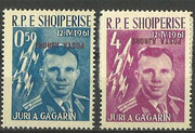 Yuri Gagarin Albania 647-648 red/pink overprint inverted one value missing 649