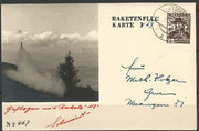 Notverordnungsrakete N2 from Schmiedl, dated 25.02.1935, Edelschrott cancelled, oig.signed by Schmiedl, 80 flown items are existing