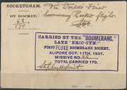 Boomerang rocket by Stephen Smith dated 11.10.1937, 170 flown cards orig.signed by Smith, none were posted