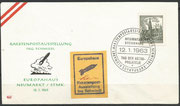 Austria, cover Raketenpostaustellung Schmiedl 12.01.1963 in Neumarkt, with vignette, orig.signed by Schmiedl and cancellation Nr.4