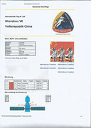 Documnetation sheet from the flight Shenzhou 7
