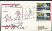 9.2.1971, recovery cover Apollo 14, orig.signed Roosa, autopen signed Mitchel and Shepard