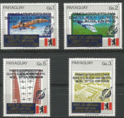 Paraguay 4402/05 mnh, overprint in blue ( primer aeropuerto...)   and gold (Prof Dr.Hermann...)