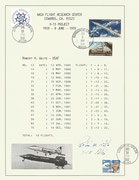Documention card of the X-15 flights from Robert White, orig.sigend by Robert White
