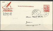 Notverordnungsrakete N1 from Schmiedl, dated 25.02.1935,Edelschrott cancelled, oig.signed by Schmiedl, 146 flown  items are existing