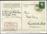 Germany, Faksimli reprint on the frontside from the original card (188 items) from the first rocket trial by Tilling 15.04.1931 at Dümmersee, backside orig. sigend by Ruth Tilling (wife from Tilling), flown cards 1.250 items 15.04.1971 (40 years later)