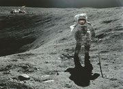 NASA Litho Charles Duke walking on the moon