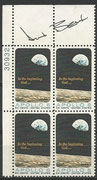Apollo 12 astronaut Alan Bean orig. signed the US stamp as  block of 4