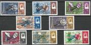 Qatar 225/232, 8 stamps perforate, Gemini rendevouz overprinted in black ( 5 stamps)and blue (the last 3 higher values, 1.400 items issued) and overprinted in New Currency, mnh,