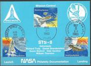 STS-8 NASA Philatelic documentation card