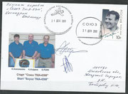 Sojus TMA-03M, launch cover orig.signed by Pettit and Kuipers
