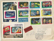 Guinea, some space items and Sojus 24 on R-cover to Switzerland, complet set 1269/76 and two sheets 280 and 279