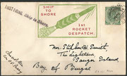 First indian rocket flight rocket No.1 on 30.09.1934 by Stephen Smith, rocket has started from ship Pancy to the beach, 143 covers are flown and orig signed by Smith and Capt.Potter, 140 covers recovered and cancelled in Sougor Island