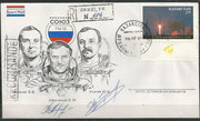 Landing cover of Sojus TM-18, orig. signed by complete landing crew, Ussatschow and Afanassjew