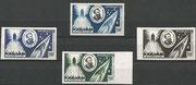 Monaco Jules Verne, stamp M 522 upper line original perforate, second line left dark blue proof, right light brown proof, third line light green proof