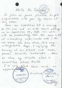 Sojus TMA-12M, the content of the private mail written from Oleg Artjomjew from ISS to the collector