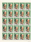 Qatar 399, perforate full sheet of 50 stamps mnh, one time foldered, Michael Collins, Apollo11