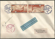 Germany, 28.01.1934 not flown cover with 2 vignette perforate, orig. signed by Gerhard Zucker