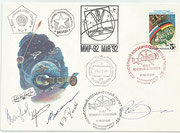 Russia, flown cover Sojus TM 14 to MIR orig. signed by Falde, Viktorenkow, Kaleri, Wolkow and Krikalow with 229