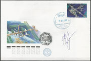 Flown cover Space Shuttle STS-108, personal letter from Onufrienko (ISS Expedition 4) orig.signed by himself, docking cancel 7.12.2001, this letter flew back to Earth by Space Shuttle STS-111 in the pers. bagage from Onufrienko