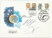 Kasachstan 8 A and 10,, Sojus TM 15 launch cover orig. signed by A.Solowjew, S.Avdejew and M.Tognini
