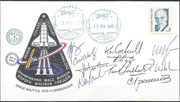 7.6.2002, boardmail from ISS, docking from Space Shuttle STS-111 on ISS,and undocking dated 15.6.2002, orig.signed by complete crew STS-111 and expedition crew 4, who was in ISS and went back with STS-111, this letter flew in Space Shutte to earth