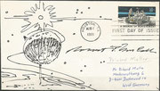 2.8.1971, FDC and launch from moon, stampdesigner McCall handpainted this cover and orig.signed by MCCall