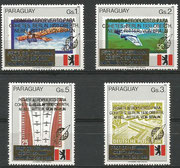 Paraguay 4402/05 mnh, overprint in gold ( primer aeropuerto...)  and blue (Prof Dr.Hermann...)