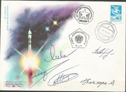 Boardmail from MIR, dated 4.12.1990 docking of Sojus TM-11 to MIR station,orig. signed by complete crew Sojus TM-11 with the japanese Akiyama, who was first astronaut who payed for his flight (12 Mio US$) and Manakow and Strekalow from Sojus TM-10