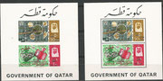 Qatar souvenir sheets 3Aa and 3Ba, Gemini rendevouz black overprinted and black overprinted in New Currency, mnh