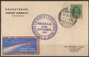 First Rocket train trial dated 22.09.1937 by Stephen Smith, 300 cards have been carried, postmsrked Park Street, Calcutta 22.09.1937, orig. signed on the back by Smith and printed with contents in the compartments of the train
