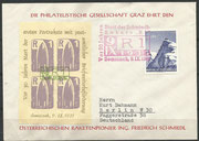 Austria, honoring Friedrich Schmiedl, cover from 09.11.1961 with a block of 4 from the reprint of the R1 vignette