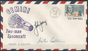 Gemini 10 launch cover dated 18.07.1966 orig signed by the complete crew Michael Collins and John Young